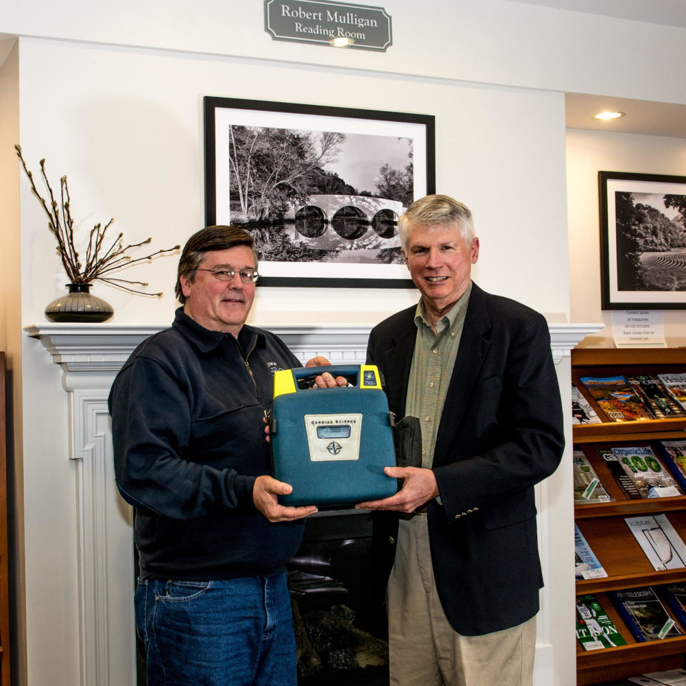 Lyme Ambulance gifts AED to Lyme Library.
